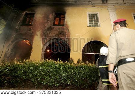 Salvador, Bahia / Brazil- January 3, 2013: Members Of The Fire Department Are Seen During Combat In
