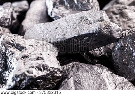 Silicon Is A Chemical Element Used In Chips, Building Material And Industry. Platinum Rough Stone, I