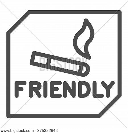 Smoking Is Allowed Line Icon, Smoking Concept, Smoking Area Sign On White Background, Place For Smok