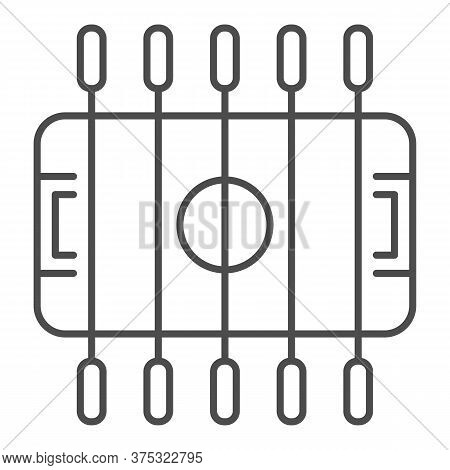 Table Football Thin Line Icon, Amusement Park Concept, Foosball Sign On White Background, Table Socc