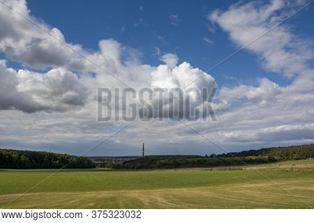 Saxony-anhalt, Dr Beck. Panoramic Over Forests With An Old Dead And Dry Tree In Sommer, Germany, Sun