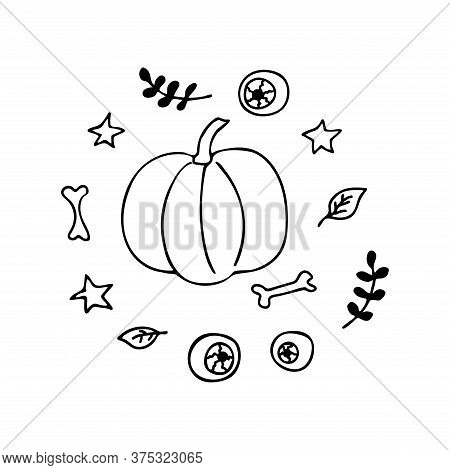 Pumpkin In The Middle Of Witch Elements. Doodle Style. Leaf Sprigs, Bones, Eyeballs, Stars, Leaves.