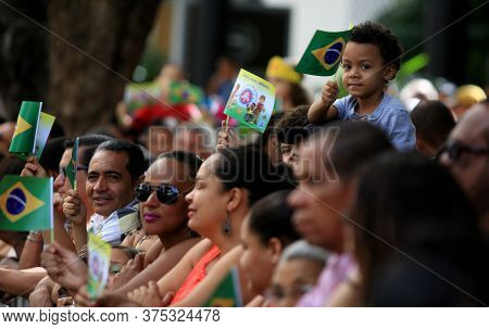 Salvador, Bahia / Brazil - September 7, 2016: Population Accompanies The Civic-military Parade On Th