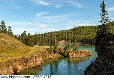 Famous White Horse Rapids On Yukon River In Miles Canyon, Yukon Territory, Canada
