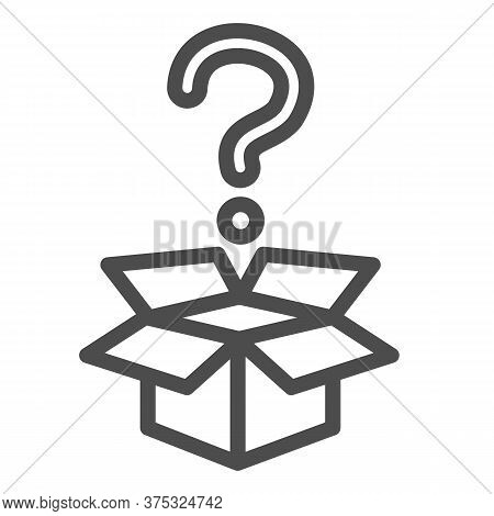 Question And Box Line Icon, Delivery Concept, Carton Box With Question Mark Sign On White Background