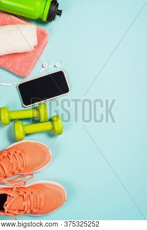Fitness Equipment. Sneakers, Dumbbell, Towel And Bottle Of Water. Trayning, Workout And Fitness Conc