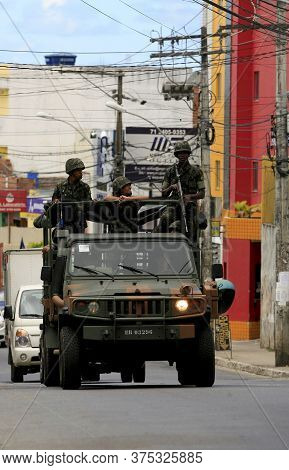 Salvador, Bahia / Brazil  - April 23, 2014: Army Military Patrols In Salvador's Sussuarana Neighborh