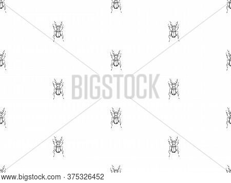 Hand Drawn Beetles Seamless Pattern. Sketch Style Vector Endless Background. Black Isolated Bugs Ins