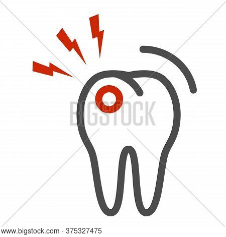 Toothache Line Icon, Dental Care Concept, Tooth With Lightning Sign On White Background, Toothache I