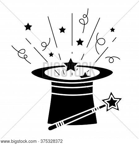 Black Magic Hat With Wand Stick And Stars. Magical Performance Template. A Magical Icon In Glyph Sty