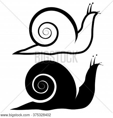 Snail Animal Silhouette. Icon Of Snail In Outline And Glyph Style. Slow Garden Animals, Isolated On