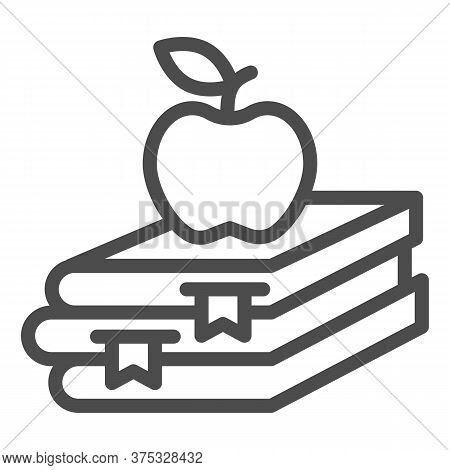 Books And Apple Line Icon, Education Concept, School Book And Apple Sign On White Background, Stack