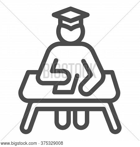 Student At Desk Line Icon, Education Concept, Man In Graduation Hat At Desk Sign On White Background