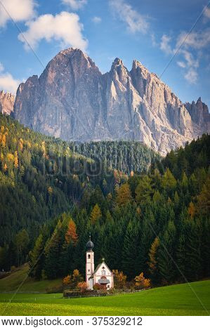 The Small Church Of San Giovanni In Ranui Or Sankt Johann In Ranui In The Grass With Behind It A For