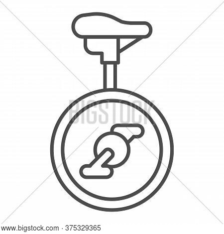 Unicycle Thin Line Icon, Amusement Park Concept, One Wheel Bicycle Sign On White Background, Monocyc