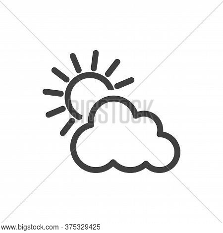 Icon Sun Behind The Cloud. Minimalistic Image. Isolated Vector On A White Background.