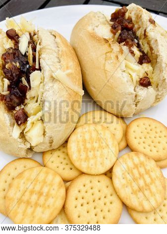 Grated Cheese And Branston Pickle Freshly Baked Baguettes With Mini Cheese Crisps