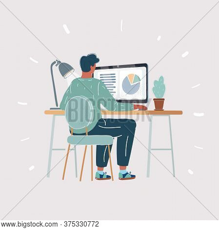 Vector Illustration Of Rear View Of A Casual Young Business Man Using Computer On White Background.
