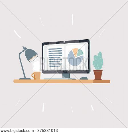 Home Office Desk - Flat Design, Long Shadow, Work Desk, Computer And Stationery