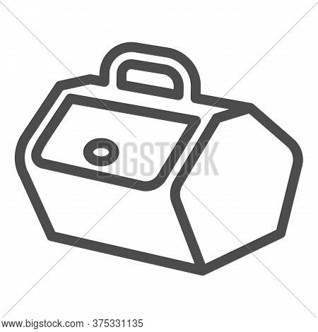 Picnic Basket With Lid And Handle Line Icon, Picnic Concept, Food Container Sign On White Background