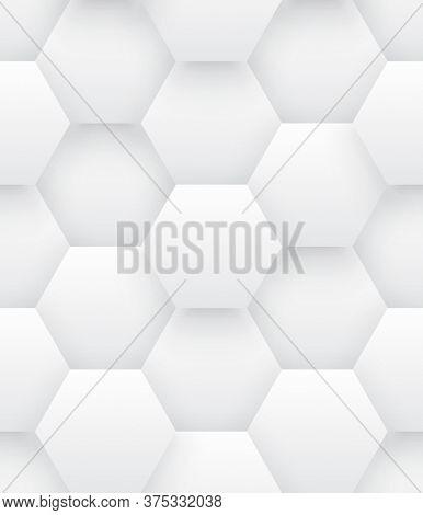 Technologic 3d Vector Hexagons Bright Abstract Seamless Pattern. Science Tech Hexagonal Blocks Struc
