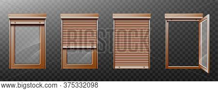 Window With Roller Shutter Up And Close. Brown Plastic Pvc Single Casement Blinds. Opened And Shut F
