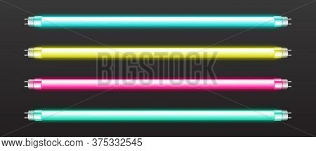 Color Neon Tube Lights Isolated On Dark Background. Vector Realistic Set Of Fluorescent Bar Lamps, G