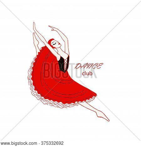 Dance Club Logo. Dancing Ballerina In A Jump. Hand Drawn Ink Woman Design Element Stock Vector Illus