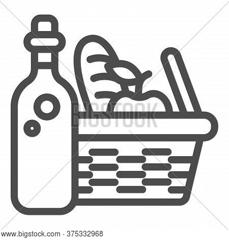 Bottle With Picnic Basket Line Icon, Summer Time Concept, Wicker Picnic Basket Sign On White Backgro