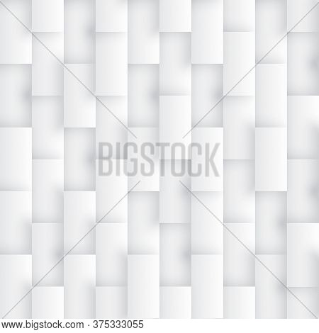 Light Abstract Seamless Pattern 3d Vector Rectangles Conceptual Sci-fi Technology. White Repetitive
