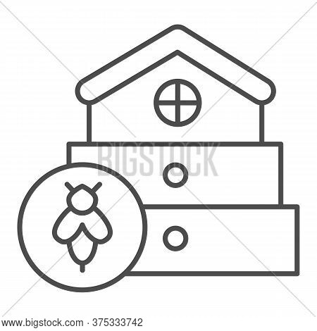 Bee Hive Thin Line Icon, Beekeeping Concept, Beehive House Sign On White Background, Hive For Bees I