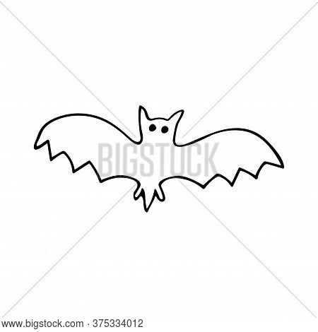 Bat In Doodle Style. Black And White Vector Illustration. Nocturnal Animal. Halloween