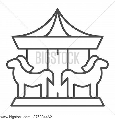 Carousel Thin Line Icon, Amusement Park Concept, Merry-go-round Sign On White Background, Carousel W