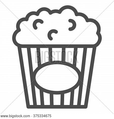 Popcorn Line Icon, Street Food Concept, Popcorn In Striped Tub Sign On White Background, Popcorn In