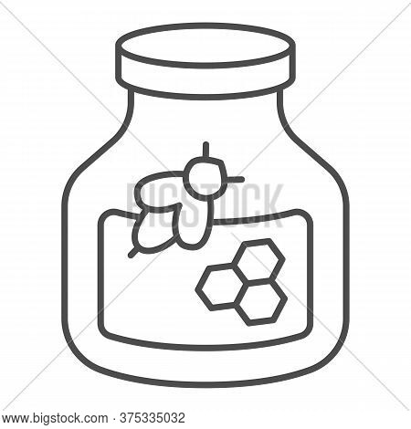 Jar Of Honey And A Bee Thin Line Icon, Beekeeping Concept, Natural Honey In Pot Sign On White Backgr