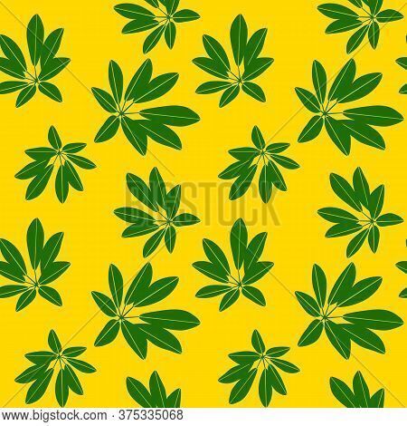 Seamless Botanical Pattern With Tropical Plants With Green Leaves On Bright Yellow Background. Backd