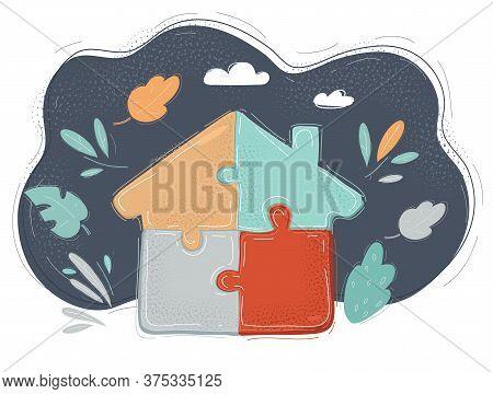 Vector Illustration Of House Built Out Of Jigsaw Blocks On Dark.