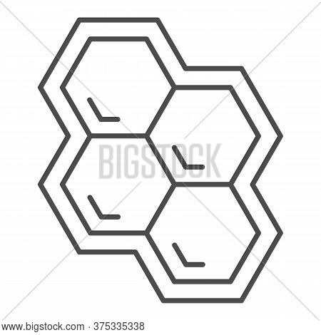 Honeycomb Thin Line Icon, Honey And Bee Concept, Honey Cells On White Background, Bee Hexagon Honeyc
