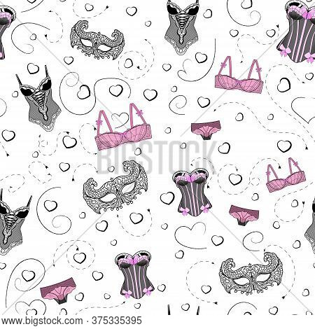 Vector Seamless Pattern Sexy Lace Underwear Hearts Illustration Set For Cards. Fashion Print Design.