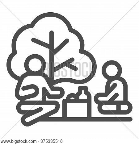 Father And Son On Picnic Line Icon, Outdoors Concept, Family Picnic Sign On White Background, Two Pe