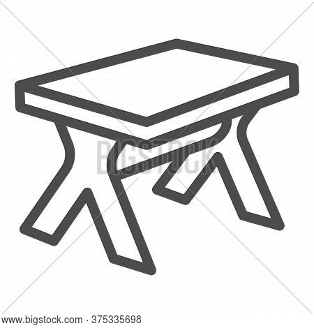 Wooden Table Line Icon, Furniture Concept, Street Picnic Table Sign On White Background, Outdoor Cam