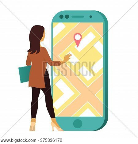 A Young Woman Uses A Location Search. In Front Of Him Is A Large Smartphone With A Map And Geolocati