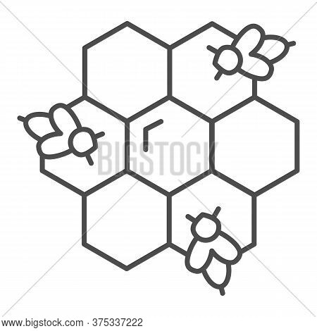 Honeycomb With Bees Thin Line Icon, Honey Concept, Honey Bees In Honeycomb Sign On White Background,