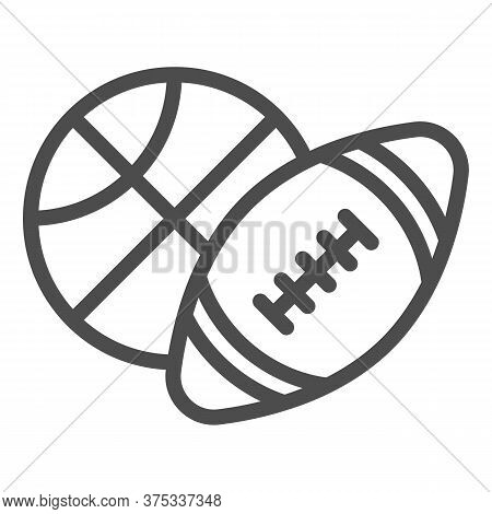 Basketball And Soccer Ball Line Icon, Sports Concept, Sport Balls Sign On White Background, Basketba