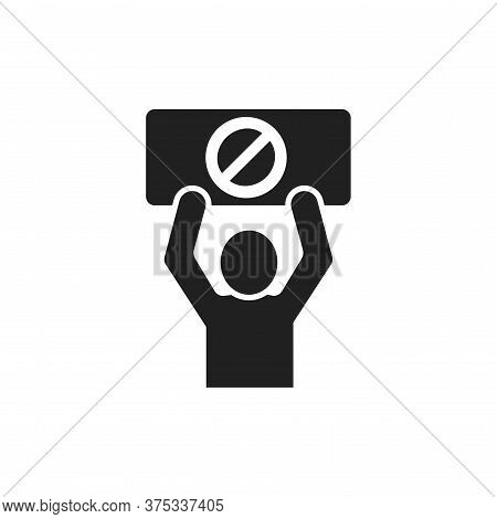 Lgbt Protest Black Glyph Icon. No Homofobia. Human Holds Rainbow Nameplate With A Stop Sign. Discrim