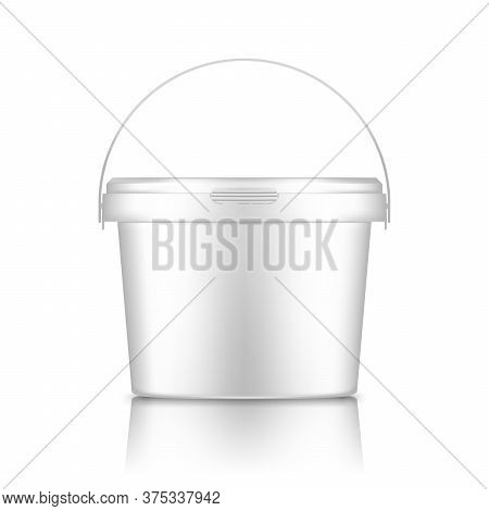 White Bucket With Handle Mockup Isolated From Background: Ice Cream, Yoghurt, Mayonnaise