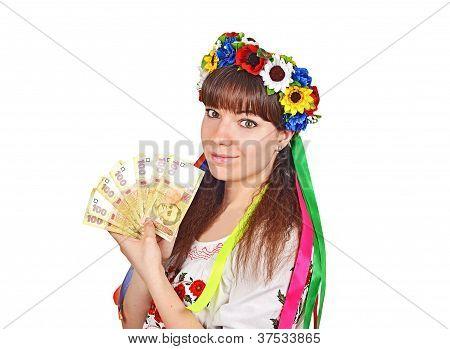 Ukrainian woman with national money hryvna