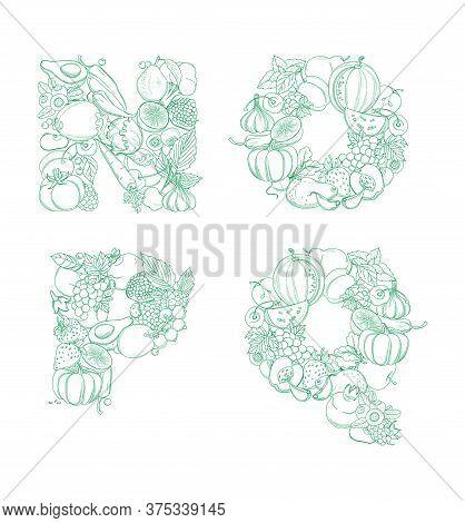 Letters N, O, P, Q Pattern Logo Farm Fresh Fruits And Vegetables