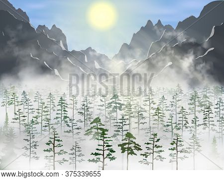 Realistic Vector Pine And Fir Forest With A Lot Of Green Trees Inside Fog Clouds Under Yellow Sun Be