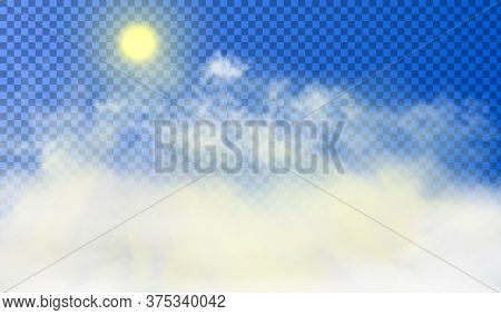 Sun Is Shining Through The White Cumulus Clouds High Above The Ground. Beautiful Realistic Picture O